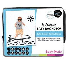 Milestone Baby Backdrop Take fun monthly photos with this cute Surfer Scene backdrop for baby...