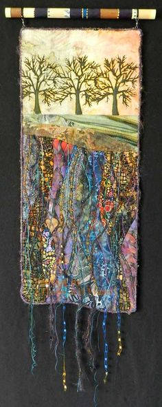 "Eileen Williams ""Rooted"" 21 x 9 inches Sold Fiber Art Quilts-Landscape"