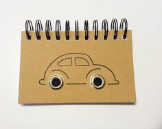 Hand drawn VW Beetle recycled notebook on Etsy, £5.50