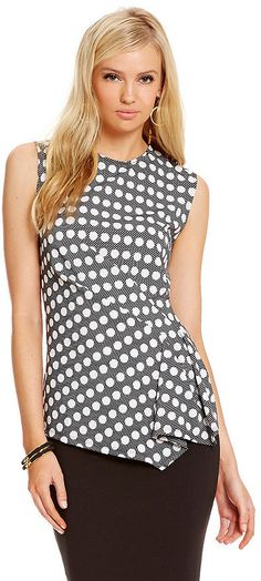 Vince Camuto Swinging Dots-Print Side Ruched Top