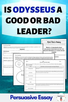 This is a great Odyssey activity for high school where students write an argumentative essay about Odysseus' leadership skills! Writing A Persuasive Essay, Argumentative Writing, Narrative Essay, English Lesson Plans, English Lessons, English Class, Leadership Activities, Group Activities, Teacher Must Haves