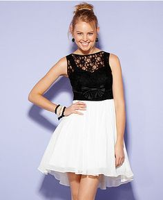 City Studios Juniors Dress, Sleeveless Colorblock A-Line - Juniors Prom Dresses - Macys