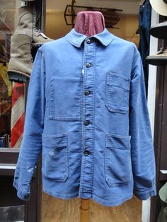 "Vintage blue bleu de travail French moleskin chore work jacket workwear 46"" chest Adolph Lafont"
