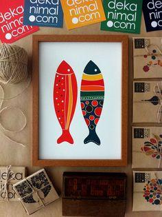 Colorful Fish Print Red and Navy Illustration Art Print Animal Children decor, Kids Room, Wedding Birthday Anniversary Gifts