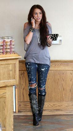 Miley Cyrus Coffee Bean Ripped Fashion Photos
