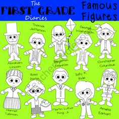 Famous Figures Set #1 Digital Line Art product from The-First-Grade-Diaries on TeachersNotebook.com