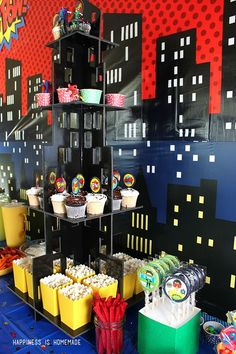Superhero Movie Night Birthday Party Ideas - Happiness is Homemade