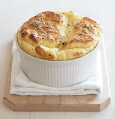 Goat Cheese Soufflé with Fresh Herbs.  This looks so good.  Never have made a souffle' before.