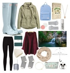 """""""A Walk In The Forest"""" by claudiamarria ❤ liked on Polyvore featuring Hunter, H&M, L:A Bruket, Accessorize, Herschel Supply Co., Pieces, Essie, Pamela Love, maurices and PhunkeeTree"""