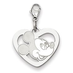 Sterling Silver Disney Mickey Heart Lobster Clasp Charm WD100SS