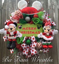 Christmas Wreath Disney Christmas Wreath Mickey & by BaBamWreaths