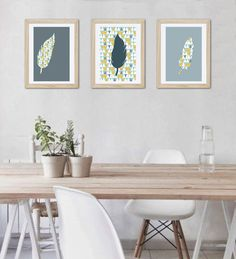 3 affiches plumes, motif scandinave et géométrique