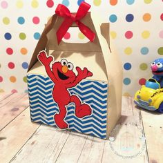Elmo Favor Box | Birthday Party Treat Box | Snack Box | Party Box | Sesame Street Gable Box | Cookie Monster | Abby Cadabby | Big Bird