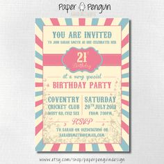 Pretty 18th or 21st birthday party invitation.