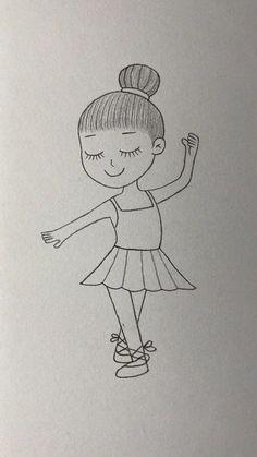 Easy Doodles Drawings, Easy Doodle Art, Doodle Art Designs, Girl Drawing Sketches, Cute Easy Drawings, Cute Little Drawings, Art Drawings Beautiful, Art Drawings For Kids, Art Drawings Sketches Simple