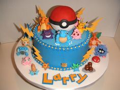 Buttercream covered cake.  All figures and decorations were made from fondant.  I made the pokeball hollow inside and filled it with chocola...