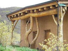 elementary idea of post and lintel construction deriving from natural forms - here used in a contemporary rural dwelling