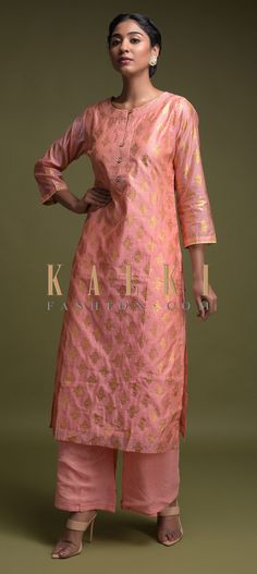 Buy Online from the link below. We ship worldwide (Free Shipping over US$100)  Click Anywhere to Tag Charisma-Peach-Straight-Cut-Suit-In-Cotton-With-Foil-Printed-Buttis-Online-Kalki-Fashion Indian Dresses, Indian Outfits, Party Wear Dresses, Wedding Dresses, Palazzo Suit, Straight Cut, Salwar Kameez, Ethnic, Peach