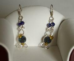 Beautiful Sexy Blue Druzy Quartz Wire Wrap Earrings Peacock Druzy Earrings Long Dangle Earrings Gemstone Earrings #etsy #designerjewelry