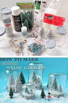 DIY How To Make Waterless Snow Globes!!!