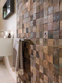 Adorable Wooden Bathroom Design Ideas For You – Badezimmer einrichtung Wooden Wall Decor, Wooden Bathroom, Wooden Walls, Wooden House, Wooden Pallet Crafts, Bathroom Small, Wall Décor, Wood Wall Art, Wood Wall Design