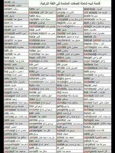 √ Turkish Verb Conjugation Chart | russian language word charts