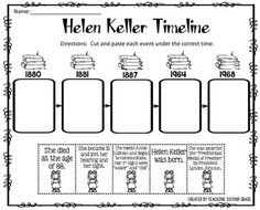 Helen Keller Timeline Cut and Paste FREEBIE!I am pleased to offer this cut and paste activity to you for FREE!This would be great review after your study about Helen Keller.  You can use this for centers, seat work, or early finishers.You might be interest in:PRESIDENTS DAY MATH AND LITERACY PRINTABLESPRESIDENTS DAY CENTER (ADJECTIVE OR VERB?)PRESIDENTS DAY NOUNS CENTER