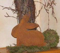 Edelrost Hase bemalt Ei groß Garten Dekoration Metall Rost Terrasse Haus Deko