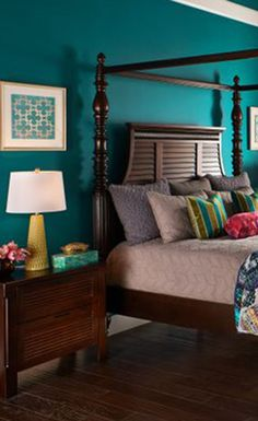 Exotic Luxury. The jewel toned color palette and embroidered pillows create an eastern flavor. See more at purehome.com