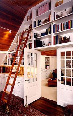 Eclectic Home Office Ladder Design, Pictures, Remodel, Decor and Ideas Home Library Design, Home Office Design, House Design, Library Ideas, Attic Design, Office Designs, Attic Renovation, Attic Remodel, Home Theaters
