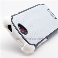 Click Image to Browse: $9.95 White Black X Shield Double Layer Hard Case Gel Cover For HTC One S