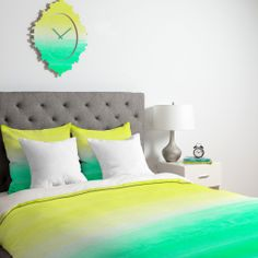 Rebecca Allen When Yellow Met Turquoise Duvet Cover | DENY Designs Home Accessories