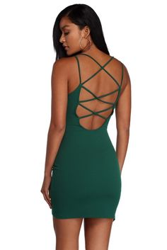 6b82f94f2d3e All That Strap Mini Dress. windsor. Hunter Green ...