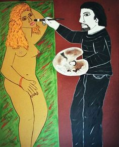 "Saatchi Online Artist Francisco Vidal; Painting, ""The artist on brown studio"" #art"