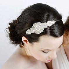 Applique bridal headpiece   Annabel headband   Lily Bella
