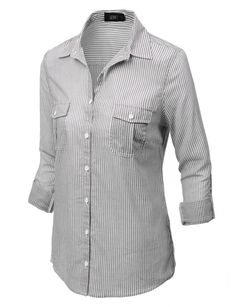 LE3NO Womens Long Sleeve Button Down Striped Shirt with Pockets