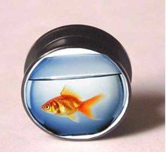 PAIR GOLDFISH IN A BOWL ACRYLIC SCREW EAR TUNNELS GAUGES PLUGS FISH
