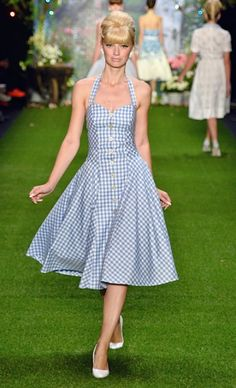Retro-inspired halter neck dresses in gingham print may just be my favorite style <3