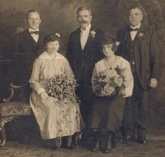 Antique 1910s Photograph of Bridal Party Vcelik by PainterPoetMuse, $12.00 Modest double wedding of the first decade in the 20th century. Brides seem resigned to it.