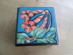 Hand Painted Acrylic Flower Wooden Jewelry by DreanasDragonflyPie