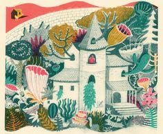 "Illustration for ""Rapunzel"" by English artist and printmaker Melissa Castrillon. via the artist's site"