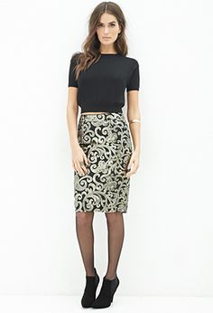 Baroque Sequins Pencil Skirt | FOREVER21 - 2000138381