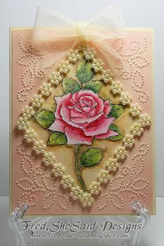 Diamond Rose Digi and Paper Pricking pattern, watercoloured with letraset aquamarkers.