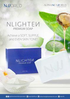 NLIGHTEN Premium Soap - NWORLD Nlighten Products, Soap Net, Eye Gel, Even Skin Tone, Argan Oil, Aloe Vera, Collagen, Cleanse, Moisturizer