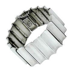 Antonio Pineda Taxco Sterling Silver Modernist Concave Bracelet circa 1955