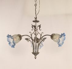 Antique victorian gas electric circa 1890s restored brass antique 3 light french victorian chandelier w frosted to blue glass shades france aloadofball Images