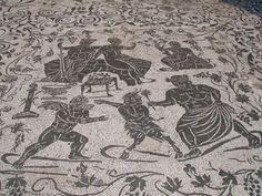 Mosaic from Ostia Antica. Bacchanal scene.