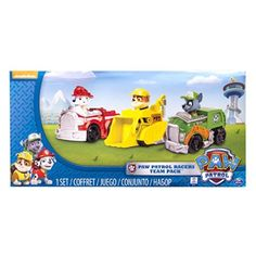 Paw Patrol - Rescue Racers Vehicle Set Marshal Rubble, Rocky in Action & Toy Figures. Ryder Paw Patrol, Paw Patrol Rescue, Paw Patrol Toys, Paw Patrol Marshall, Little Dogs, Paw Patrol Action Figures, Polaris Rzr 900, Little Tikes, Mobile Art