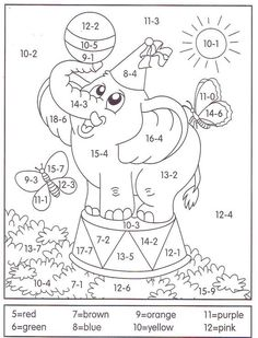 Learn math with coloring Math Classroom, Kindergarten Math, Teaching Math, Kids Math Worksheets, Math Activities, Colouring Pages, Coloring Books, 1st Grade Math, Homeschool Math