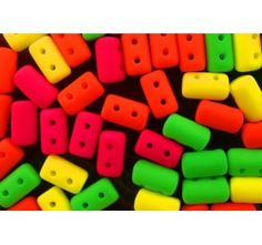 Czech Glass Two-Hole Seed Beads RULLA 3x5 mm NEON Matte Mix